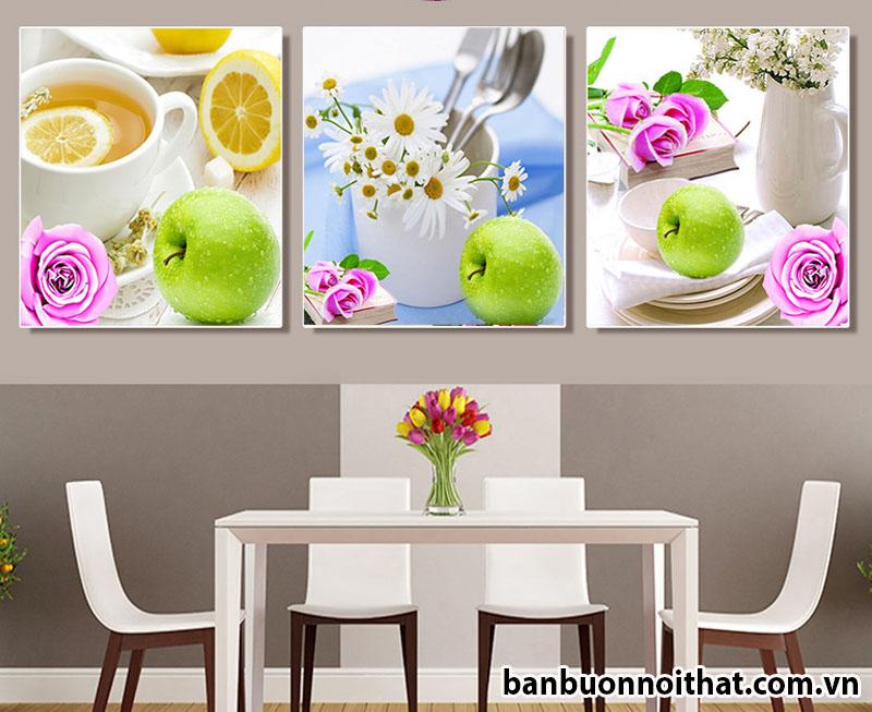 Mẫu tranh ghép bộ 3 miếng trang trí bàn ăn đẹp