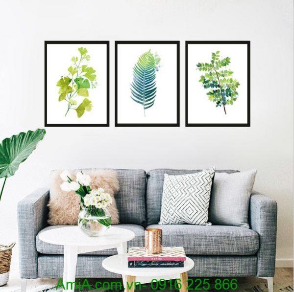 Mẫu tranh canvas lá cây treo tường hiện đại đẹp