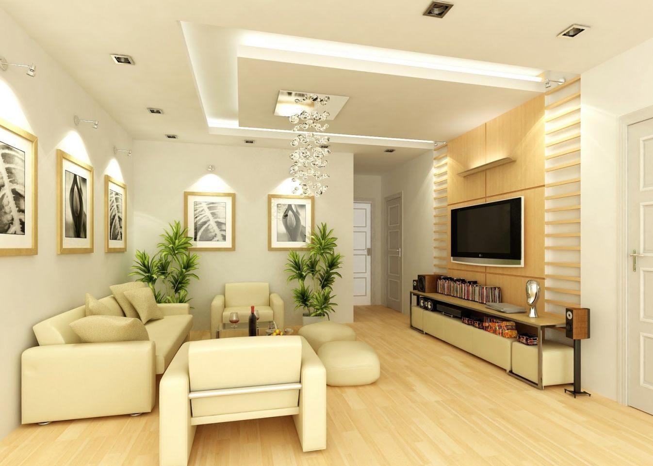 Phòng khách trang trí phong cách Hàn Quốc tông trắng, vàng màu sáng