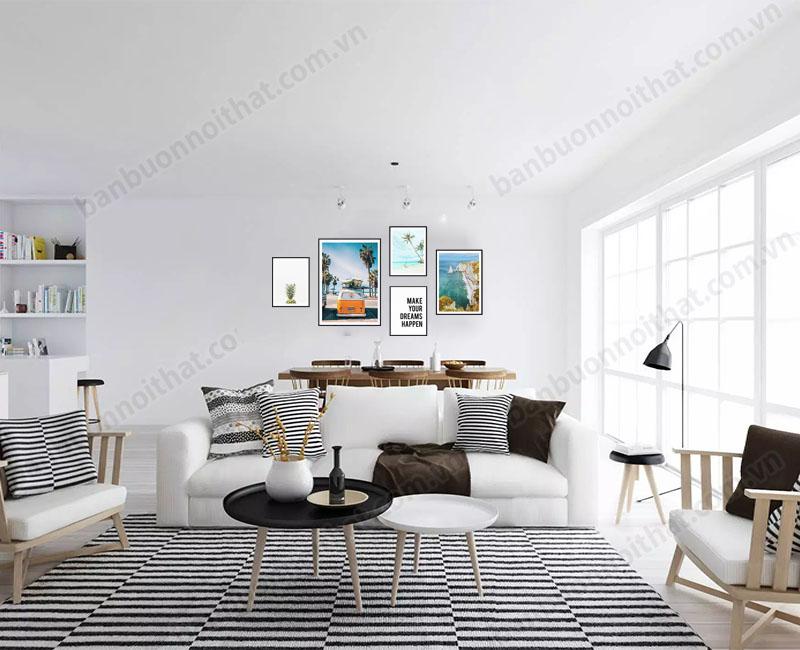 Tranh trí phòng khách theo phong cách Bắc Âu lấy tối giản và sự tiện dụng làm nòng cốt