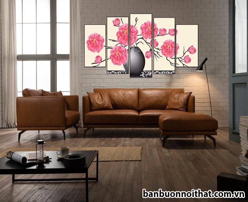 Tranh bình hoa nghệ thuật mẫu đơn ghép bộ hiện đại HH03 trang trí sau ghế sofa da