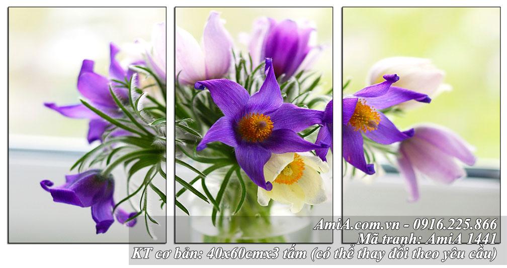 Tranh bình hoa tím nghệ thuật trang trí phòng ăn