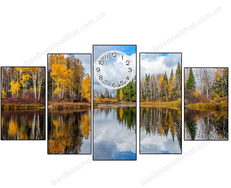 Mẫu tranh đồng hồ phong cảnh mùa thu Châu Âu lãng mạn đẹp tuyệt vời