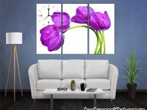 Mẫu tranh đồng hồ hoa Tulip trang trí tường phòng khách nhỏ