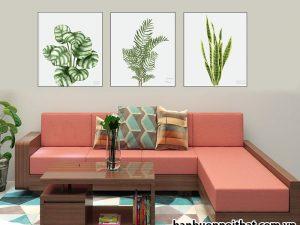 Mẫu tranh hình lá cây chất liệu canvas trang trí phòng khách hiện đại