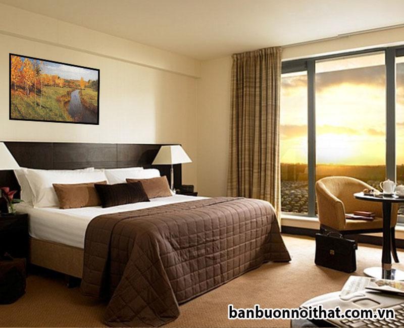 Mẫu tranh mùa thu vàng trang trí đầu giường ngủ phong cách hiện đại