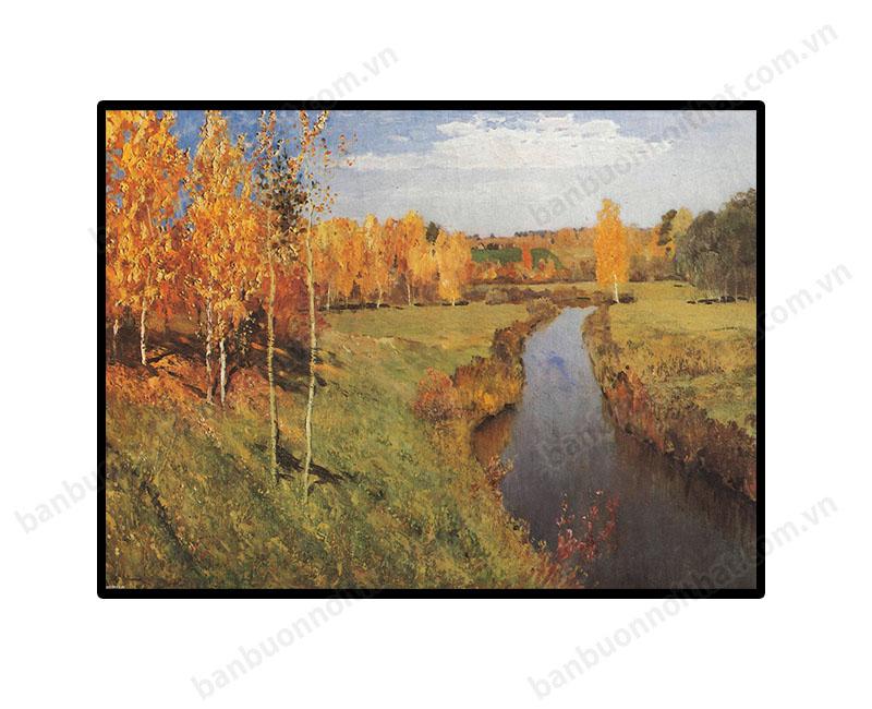 Mẫu tranh mùa thu vàng chất liệu in canvas cũng là mẫu tranh nhiều khách sạn yêu thích