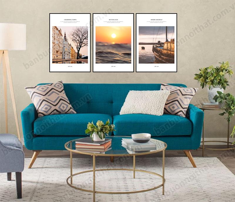 Bộ tranh canvas khung 3 tấm treo sau ghế sofa nỉ