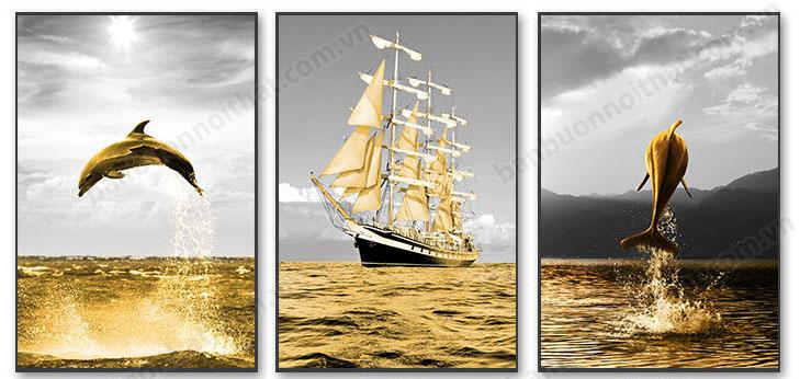 Tranh canvas biển vàng trang trí phòng khách CV38