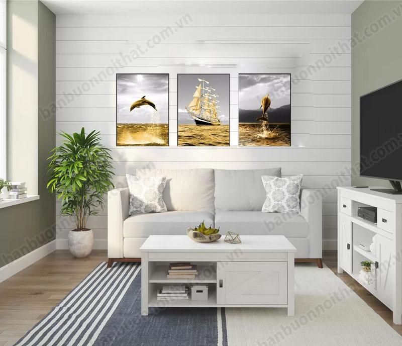 Tranh canvas trang trí phòng nội thất màu trắng