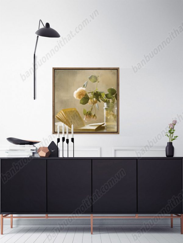 Tranh canvas bình hoa nghệ thuật trang trí phòng đọc sách, phòng khách nhỏ
