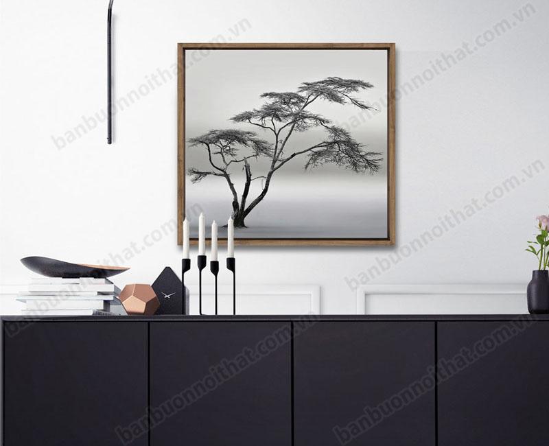 Tranh canvas đen trắng trang trsi cùng nội thất tông đen trắng phong cách Bắc Âu