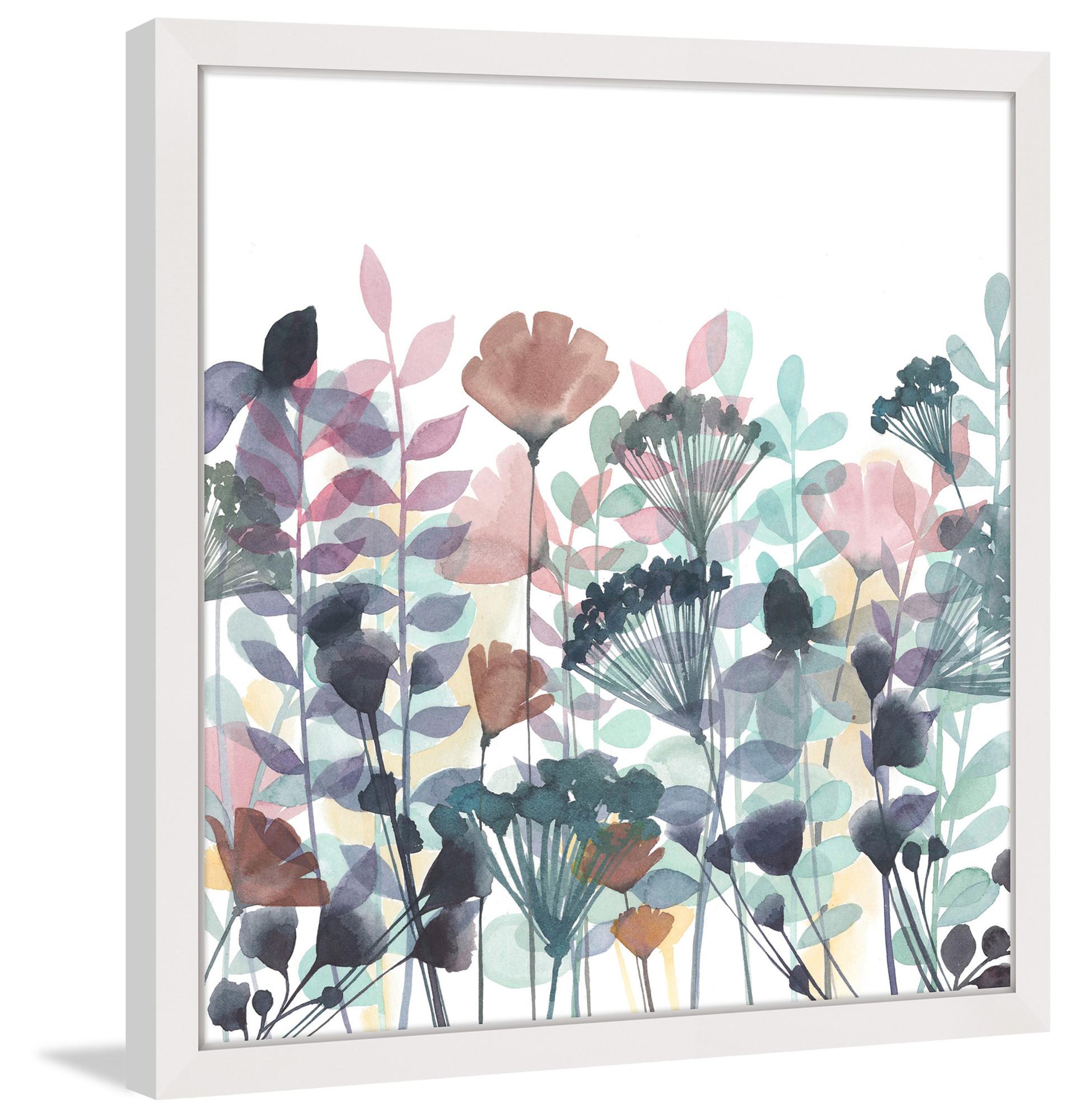 Tranh in canvas trừu tượng sắc hoa có khung viền nhẹ nhàng, sang chảnh