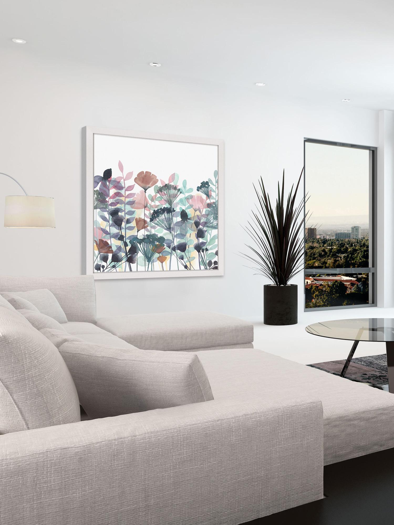 Với tông màu nhẹ nhàng tranh thích hợp kết hợp nội thất màu sáng