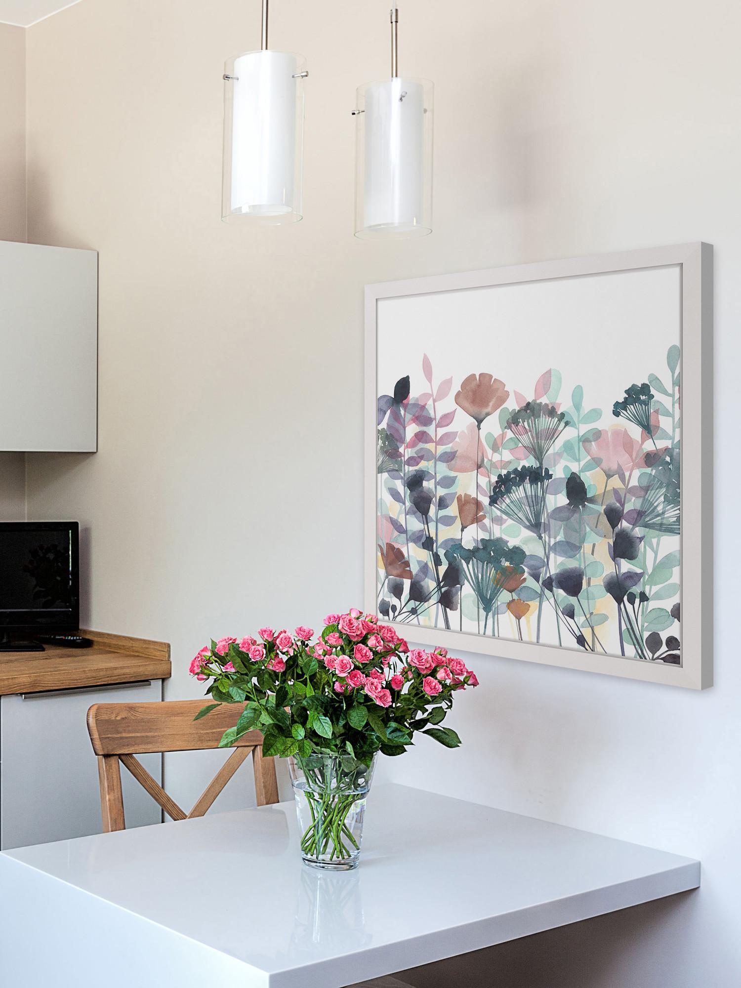 Tranh in canvas khung hoa trừu tượng trang trí bàn ăn hiện đại