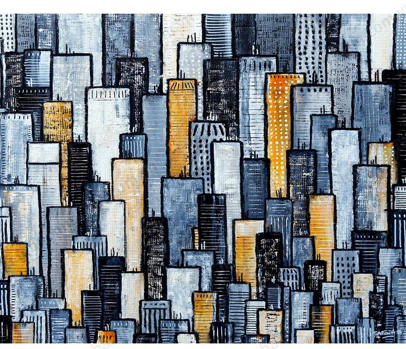 Tranh canvas trừu tượng cảnh thành phố trang trí tường hiện đại