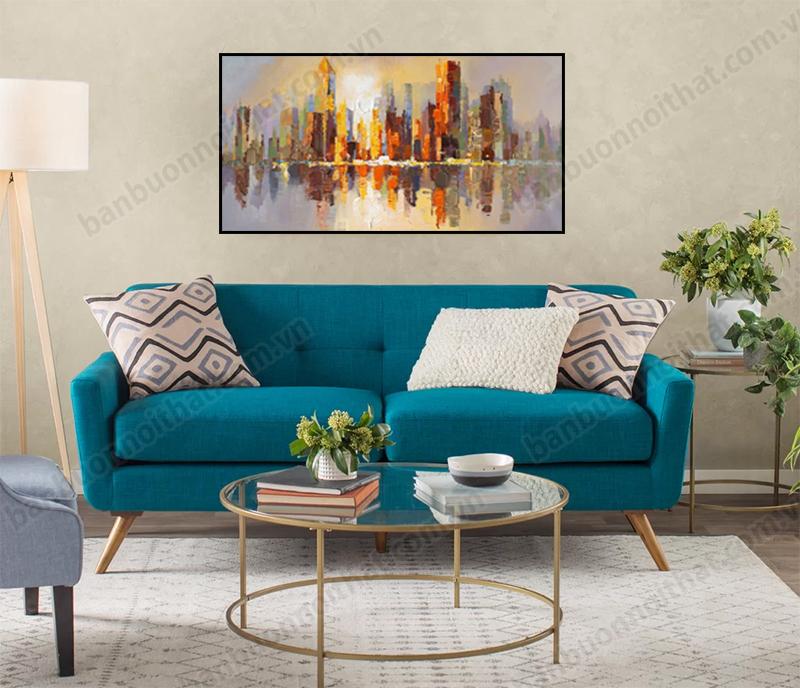 Tranh canvas trừu tượng thành phố đêm trang trí phòng khách