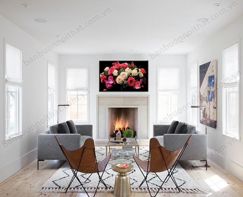 Tranh treo tường hoa hồng làm cho không gian thêm ấm cũng hơn trong mùa đông lạnh giá