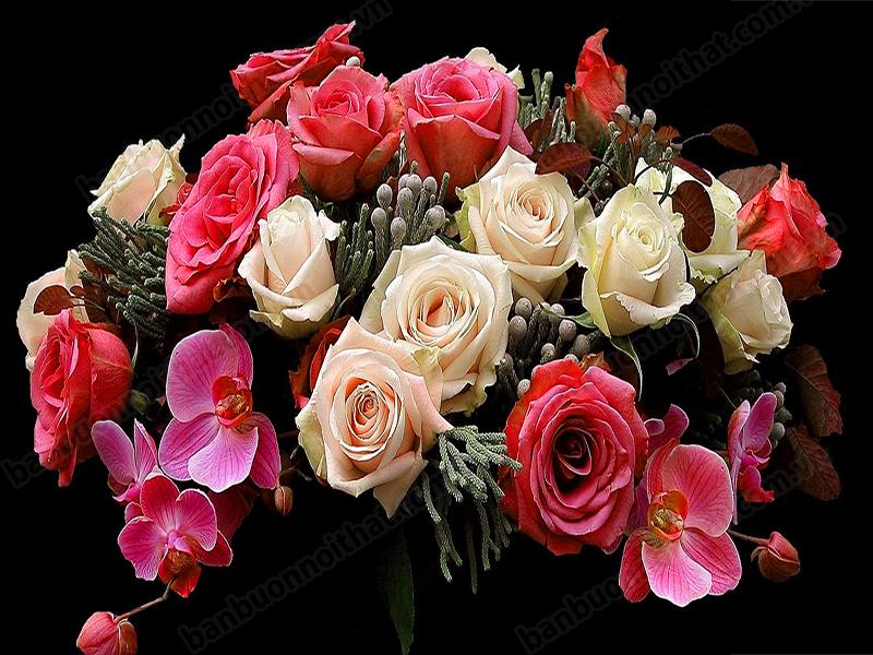 Mẫu tranh hoa hồng đẹp trang trí nhà ngát hương thơm