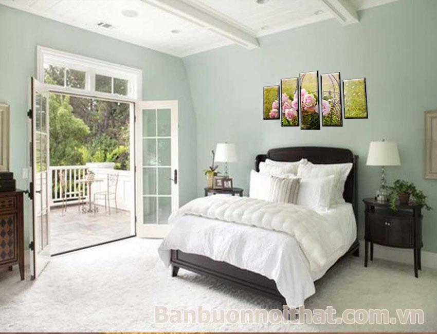 Tranh hoa hồng ghép bộ treo phòng ngủ lớn