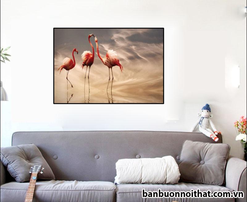 Tranh hồng hạc trang trí phòng khách tông sáng