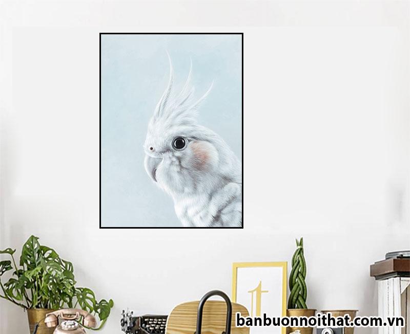 Mẫu tranh chim vẹt đẹp in canvas treo tường hiện đại