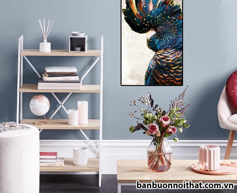 Tranh in canvas hình chú Vẹt trang trí phòng làm việc nữ trẻ trung, hiện đại