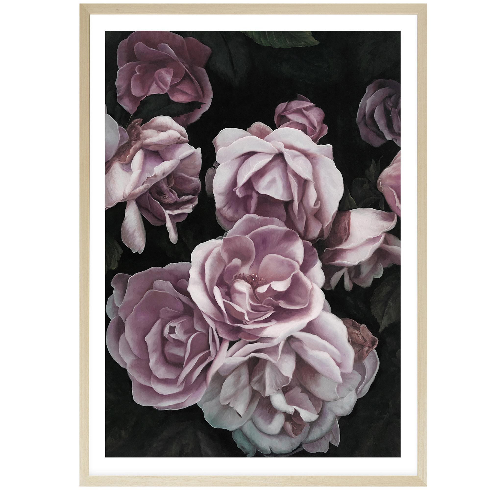 Tranh hoa hồng in canvas khổ nhỏ với khung màu sáng