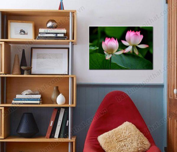 Tranh hoa sen 1 tấm trang trí góc học tập đẹp