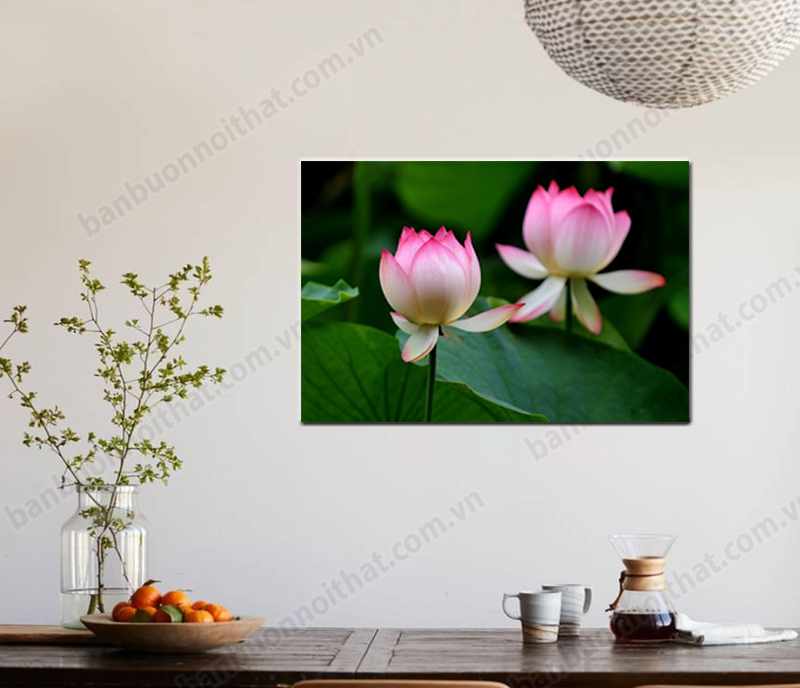 Tranh hoa sen 1 tấm treo tường góc giải trí của gia đình