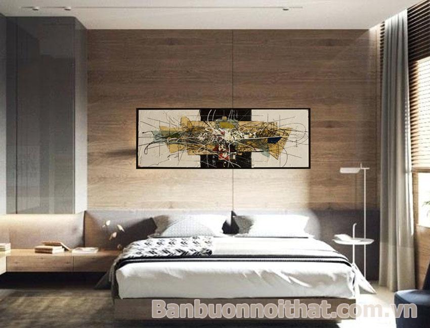 Một trong các mẫu tranh in canvas trừu tượng được dùng để trang trí đầu giường