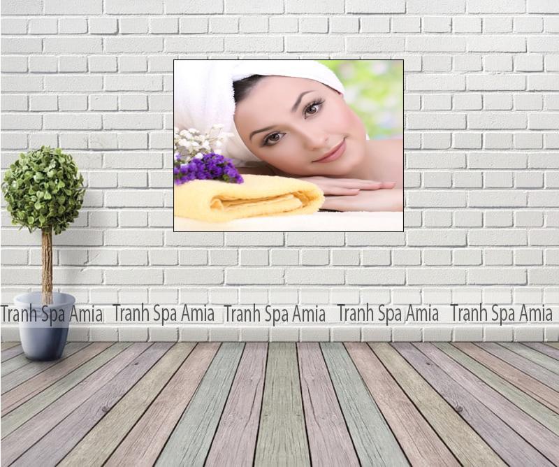 Tranh Spa hình ảnh cô gái xinh đẹp trang trí tường Spa phòng nhỏ
