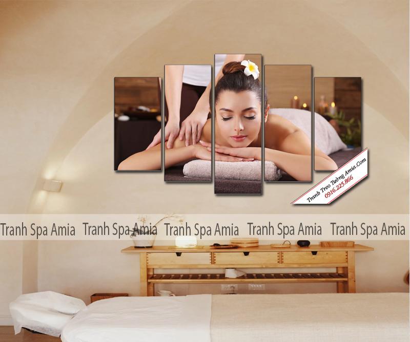 Tranh ghép 5 tấm Spa cô gái trang trí tường sắc nét, giá rẻ