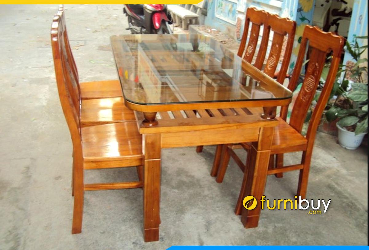 Ảnh bộ bàn ăn 4 ghế gỗ xoan đào đẹp