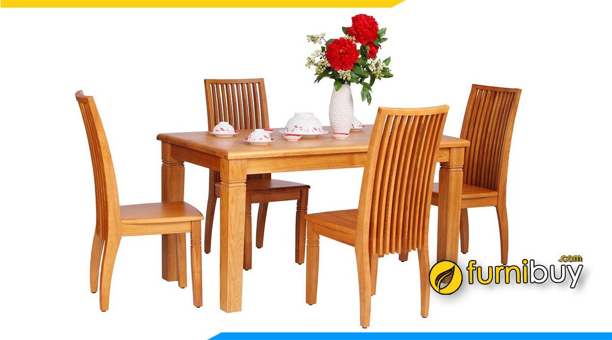 Hình ảnh Bộ bàn ăn 4 ghế gỗ xoan đào đẹp
