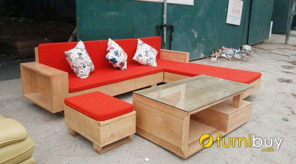 bàn ghế sofa gỗ sồi đẹp hiện đại