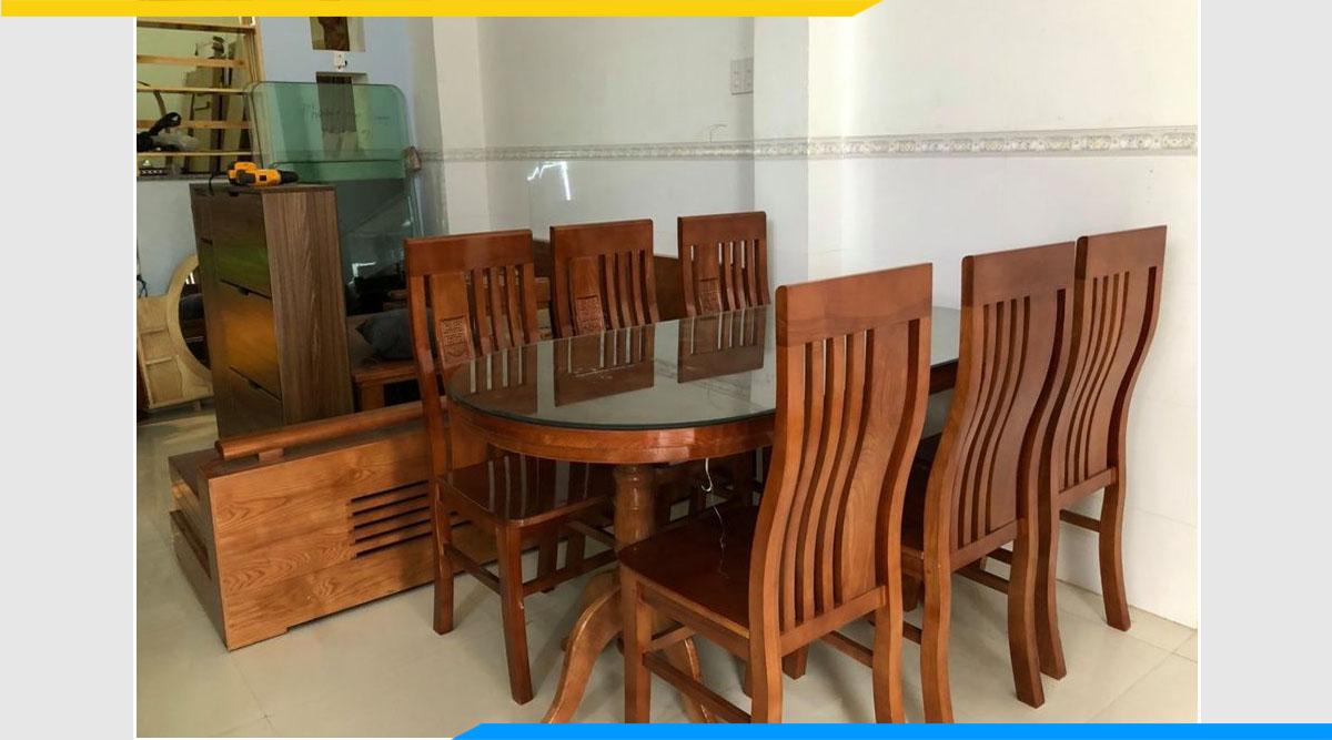 Bộ bàn ăn 6 ghế gỗ xoan đào hình bầu dục đẹp