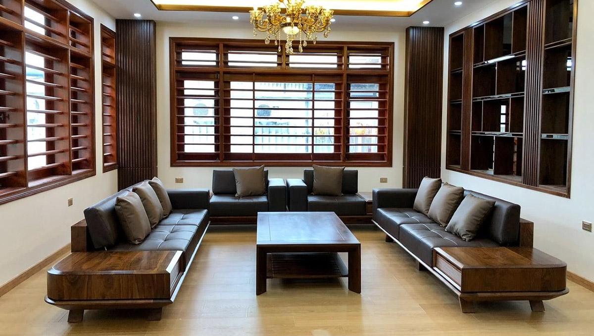 Ảnh bàn ghế sofa gỗ Óc chó Thái Nguyên
