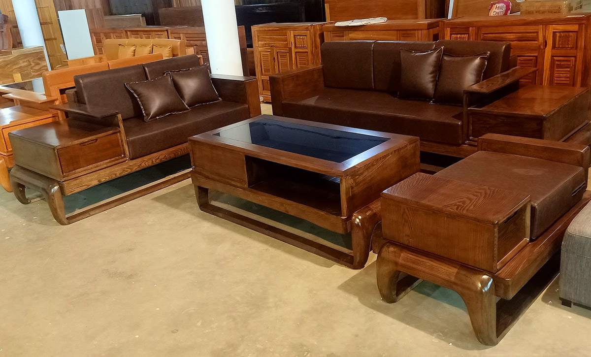 sofa gỗ bọc da đẹp