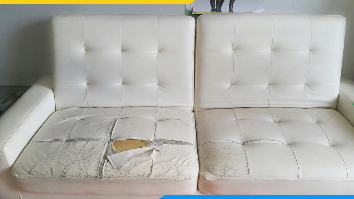 Bộ ghế sofa góc da bị nứt, nổ sau thời gian dài sử dụng