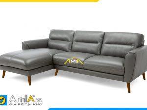 Mẫu sofa góc chữ L đẹp bọc da màu ghi AmiA 20233
